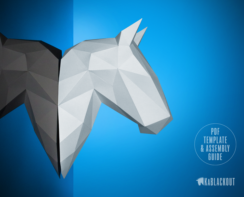 Papercraft Horse Trophy Head Template Low Poly 3d Papercraft