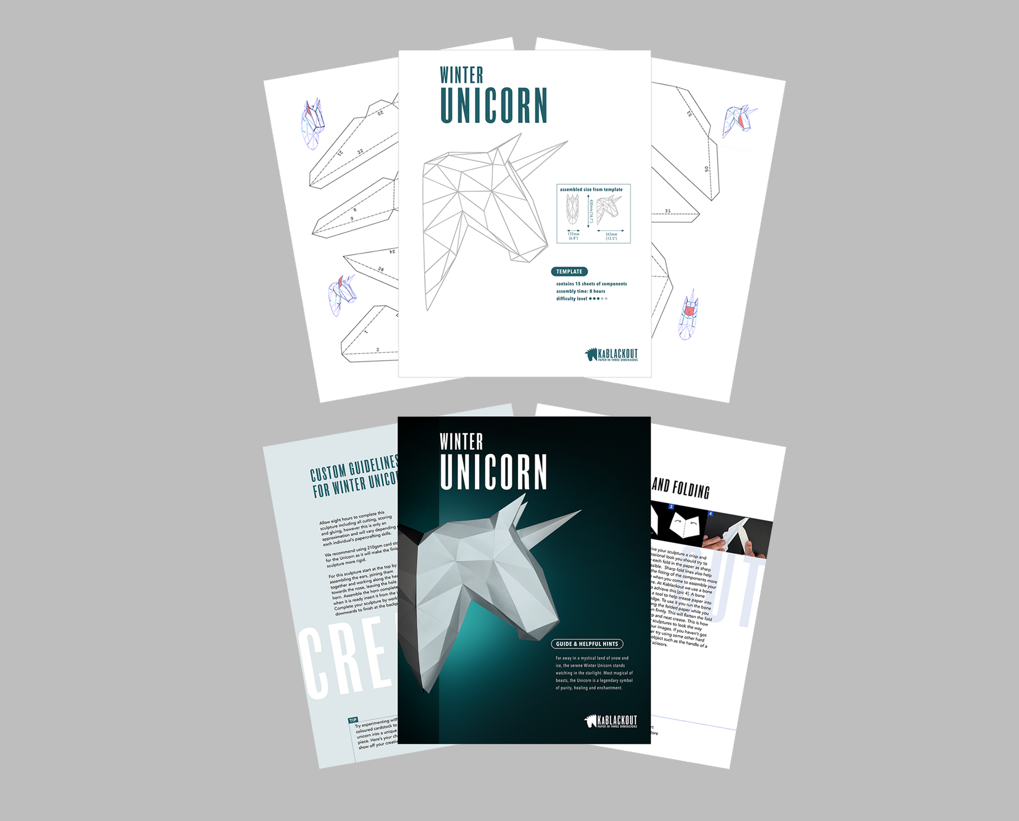 Unicorn Papercraft Template and Guide image