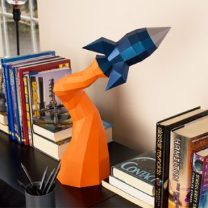 Blast Off Rocket Low Poly Papercraft
