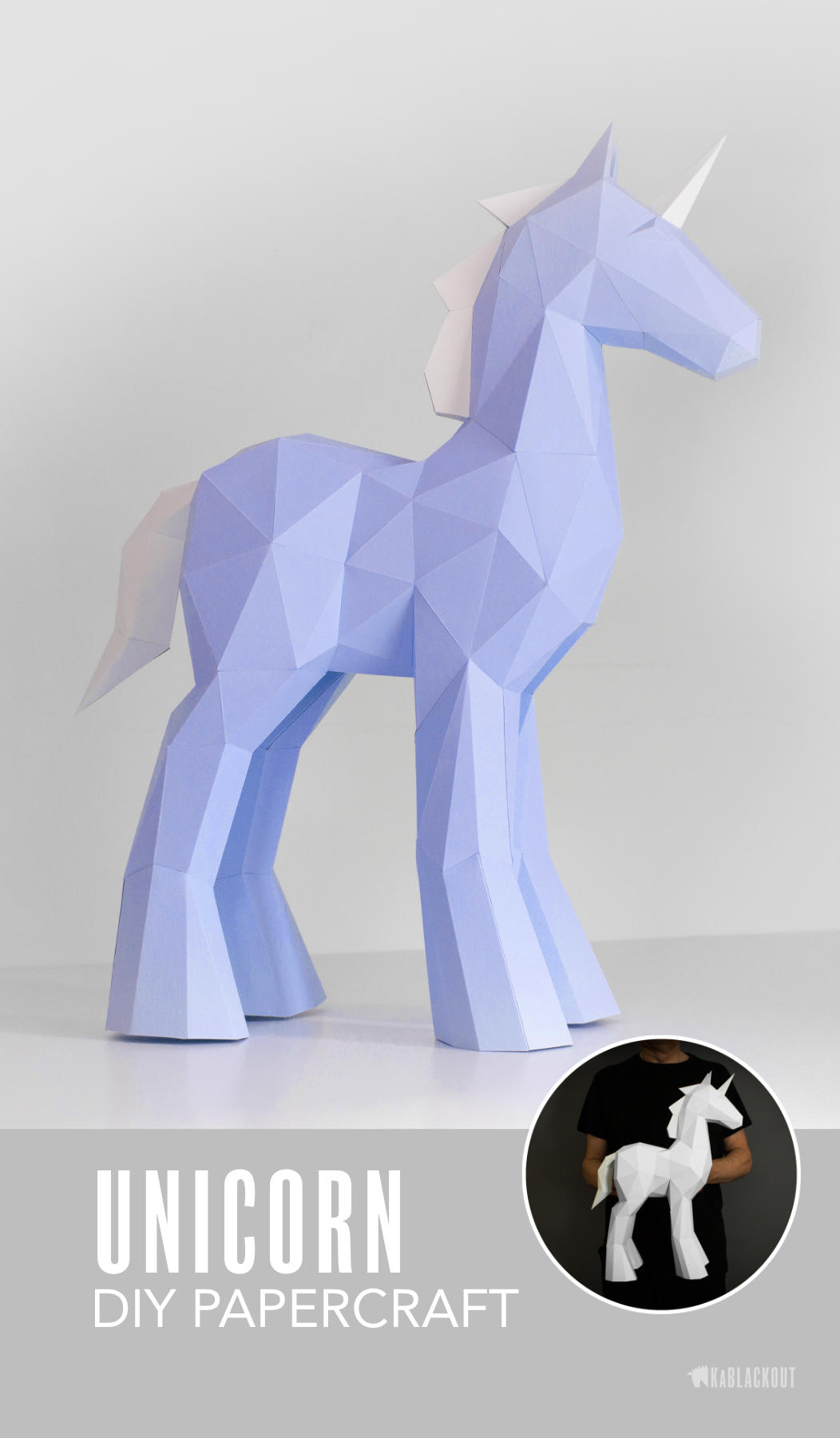 unicorn papercraft template image