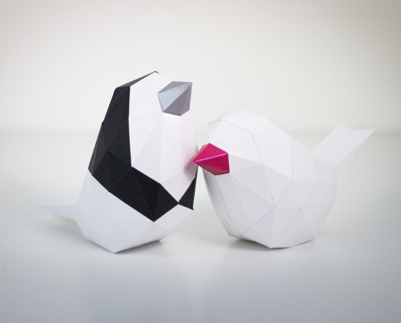low poly paper bird template