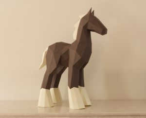 Low Poly Papercraft Horse Sculpture made with brown and cream card