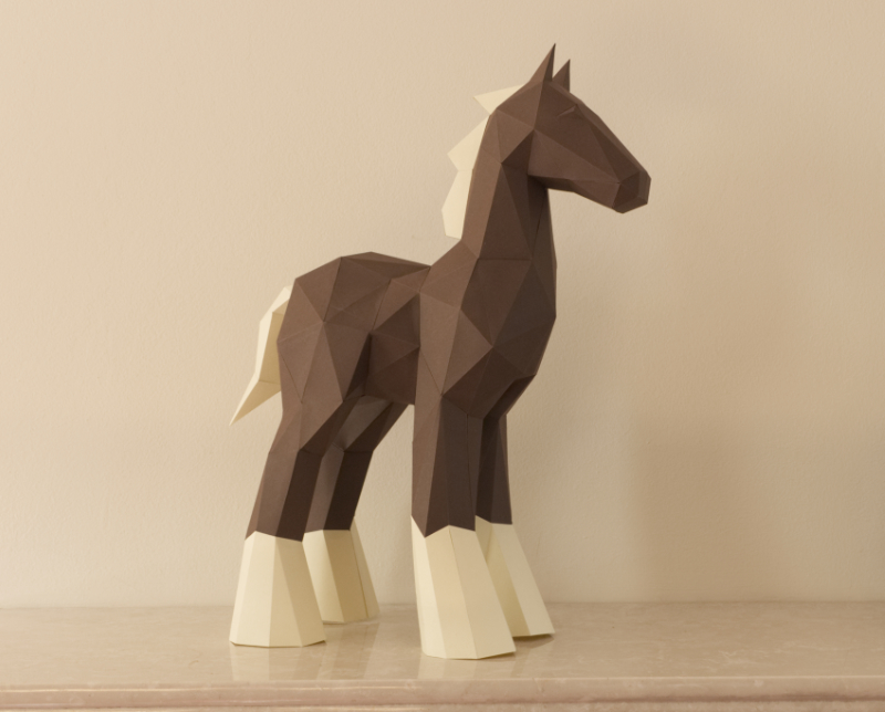Low Poly Papercraft Horse Sculpture photo