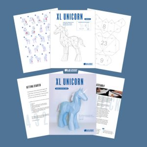 Extra Large low poly papercraft unicorn template