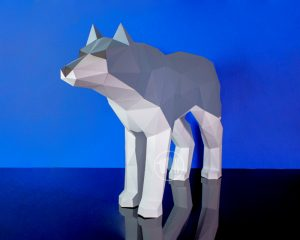 Wolf Papercraft Template image