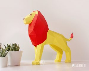 Photograph of Low Poly Lion Papercraft Template
