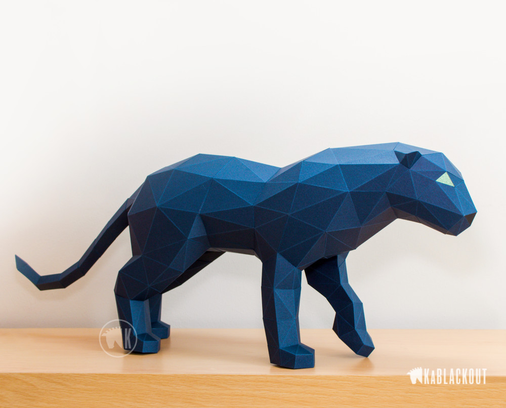 Photograph of low poly papercraft panther