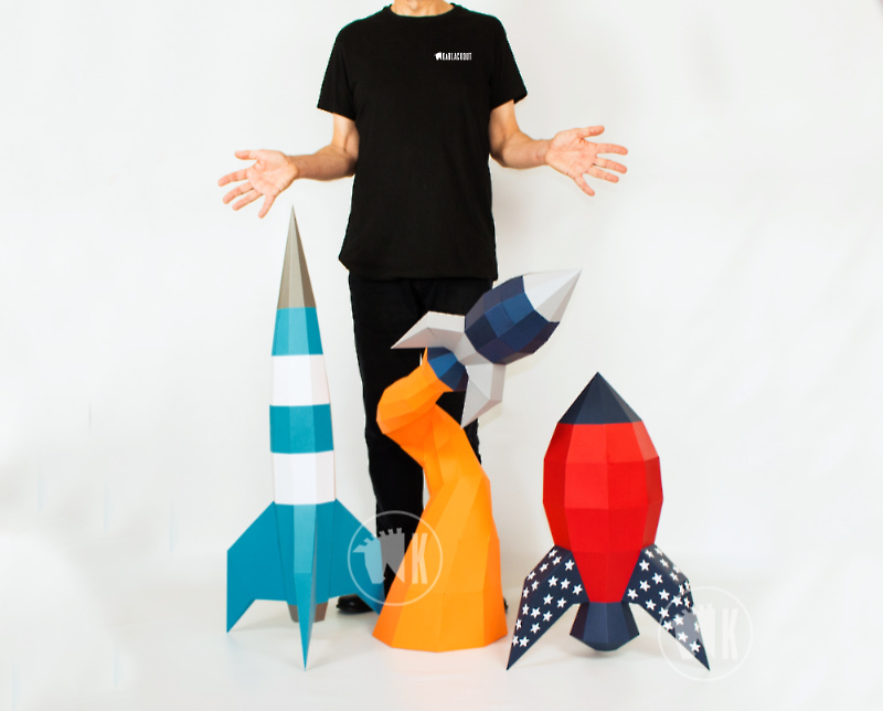 XL Papercraft Rockets Template Bundle image