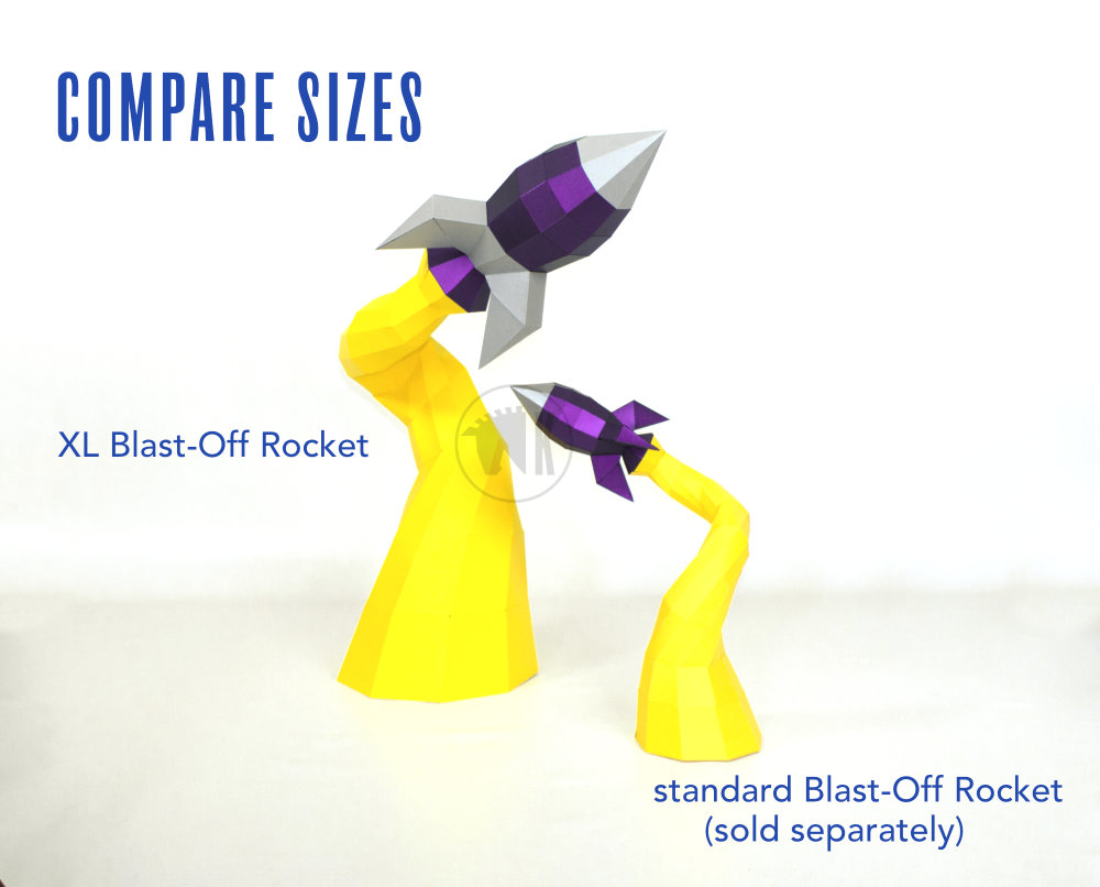 Low Poly Rocket PDF Template Image