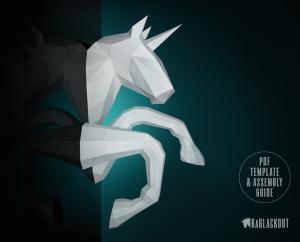 Galloping Unicorn Papercraft Sculpture image
