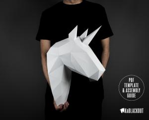 Unicorn Papercraft Trophy Head image