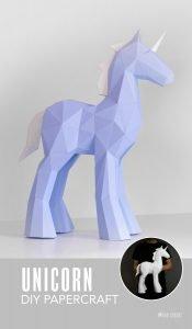 unicorn papercraft template image