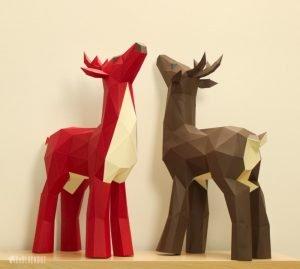 Deer Papercraft Template image