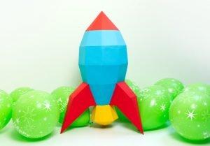 XL Retro Rocket Party Decor Image