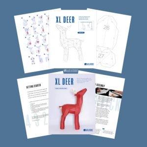 XL Reindeer Papercraft template image