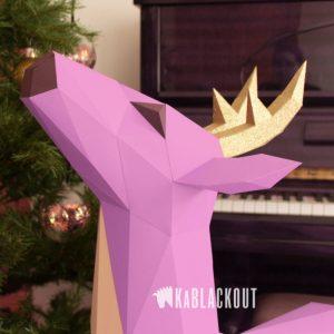 XL Deer Papercraft Template Image