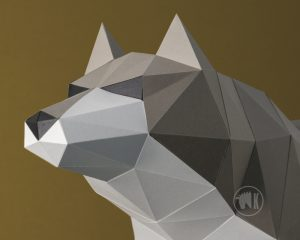 3D Origami Wolf Template Image
