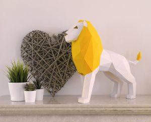 Image of Polygonal Lion DIY Papercraft