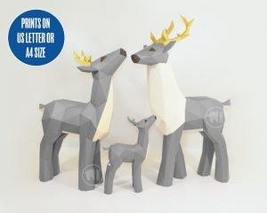 papercraft deer sculptures image