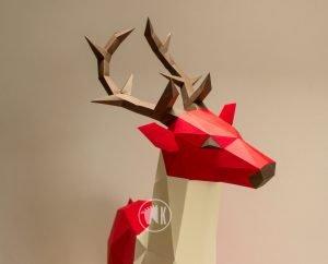 Papercraft Deer close up image